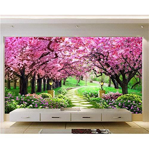 Hwhz Tapete der Wand 3d abziehbar Benutzerdefinierte 3D Fototapete Kirschbaum Garten Garten Weg Landschaft Wandbild Wohnzimmer Schlafzimmer Hintergrundbild-350X250Cm