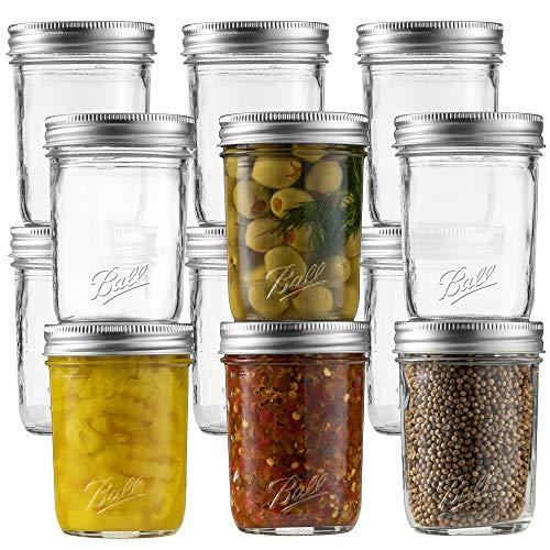Ball Regular Mouth Mason Jar 8 oz [Set of 12] Canning Jars With Airtight lids and Bands - For Canning, Fermenting, Pickling - Glass jar, Microwave & Dishwasher Safe - Bundled With SEWANTA Jar Opener