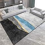 Alfombra Alfombra Bebe Alfombra Lavable de diseño Simple Gris Negro Azul fácil de Limpiar Alfombra Chimenea alfombras habitacion Juvenil 180X280CM