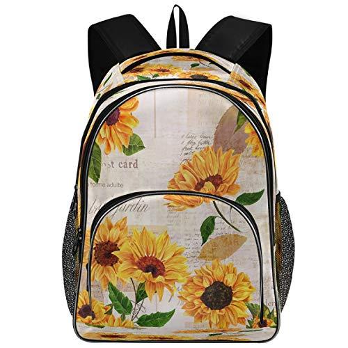 VDSRUP 빈티지 해바라기 배낭 여자를위한 아이들 수채화 꽃 꽃 학교 도서 가방 대형 방수 학생 노트북 배낭 대학 운반 가방 캐주얼 튼튼한 가벼운 가방