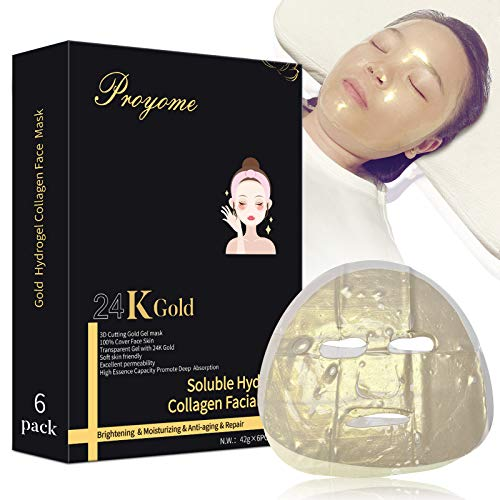 Gold Collagen Facial Mask- Moisturizing & Hydrating Hydrogel Sheet Face Mask Skincare with Hyaluronic Acid for Women and Men
