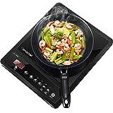 Plaquede cuisson à induction simple AMZCHEF 2000W, 9 niveaux de température, plaque à induction, commande par capteur tactile, minuterie et verrouillage de sécurité