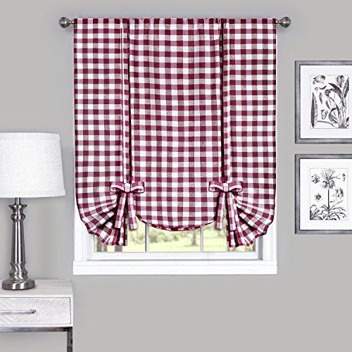 Achim Home Furnishings BCTU63BU12 Rideau de fenêtre à Carreaux Buffalo, 40% Coton, Bordeaux et Ivoire, 42\