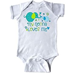 This cute elephant design with swirls and hearts is the perfect gift from a Nonna to her grandchild. Our unisex one piece baby bodysuit makes a unique clothing gift for newborns, babies, infants, baby showers and expectant moms. Quick & easy diaper c...