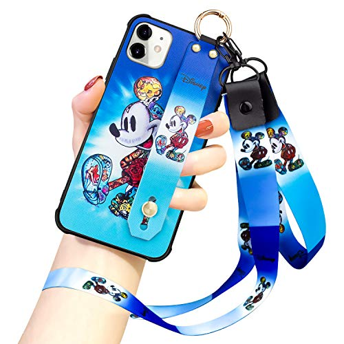 DISNEY COLLECTION iPhone 11 Case, Mickey Mouse Street Fashion Wrist Strap Band Protector Phone Cover Full-Body Bumper Lanyard Case for for iPhone 11 6.1 Inch 2019