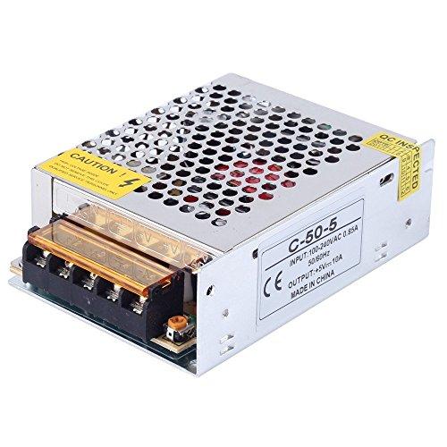 CHINLY AC 110/220V Zu DC5V 10A 50W LED-Treiber Schalter Netzteil Transformator Stromversorgung für WS2811 2801 WS2812B WS2813 APA102 LED-Leiste