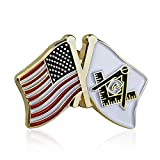 BQuen Masonic US Flag and Square & Compass Lapel Pins, Gold, Small