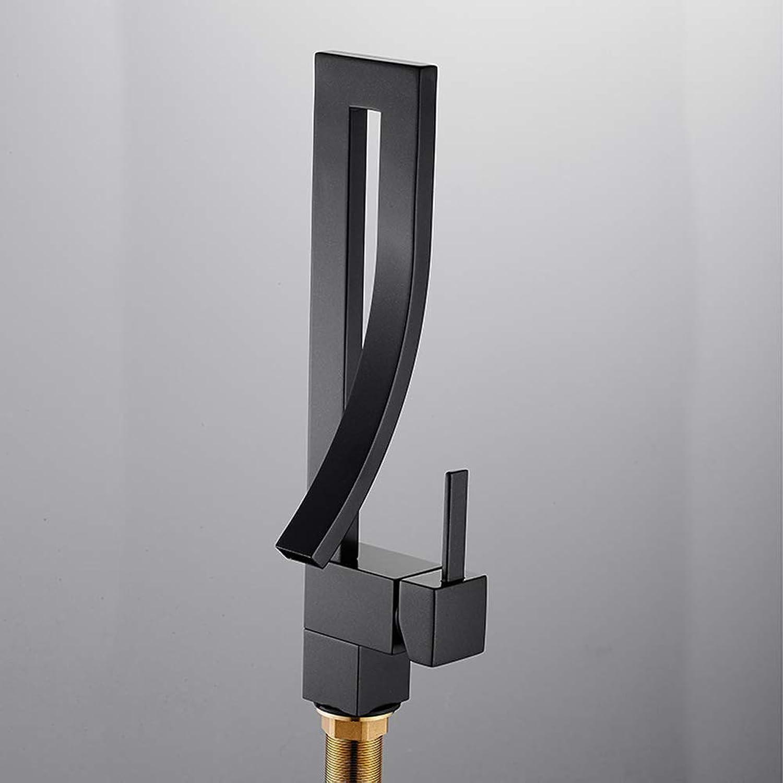 Modern Creative Above Counter Basin Mixer Tap all Brass Bathroom Sink Hot Cold Taps,BlackFaucet