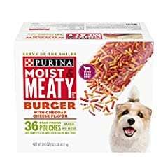 One (1) 216-Ounce Box Of Purina Moist & Meaty Burger With Cheddar Cheese Flavor Dog Food 100% Complete & Balanced Nutrition For Adult Dogs Serve Up The Smiles With Tender, Meaty Pieces Made With Real Meat Enjoy Convenience And No Mess With Individual...