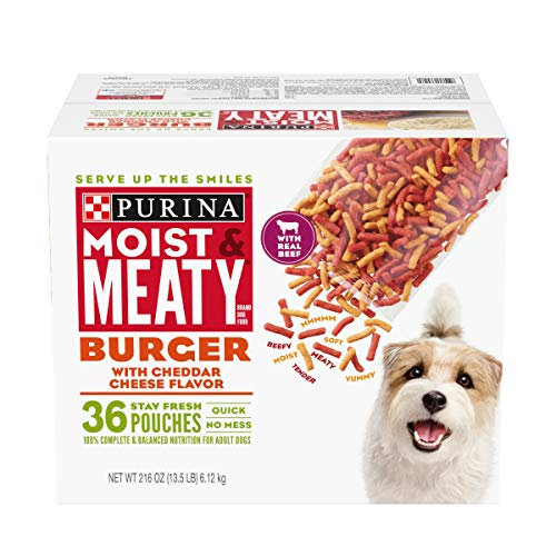 Purina Moist & Meaty Dry Dog Food, Burger with Cheddar Cheese Flavor - 36 ct....