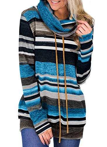 GOSOPIN Damen Sweatshirt Gestreift Rollkragen Loose Tops Farbblock Langarm Herbst Tunik S-XXL, #14, Large (EU44-EU46)