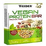 Weider Vegan Protein Bar. Sabor Cacahuete Salado. Mezcla de proteína vegetal, cereales y semillas. Sin gluten. Sin lactosa. Sin aceite de palma (3x35 g)