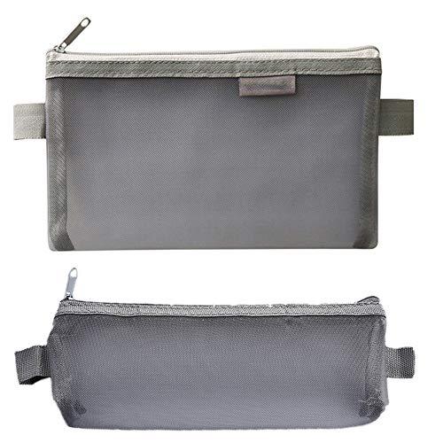 2 pièces Cas Mesh Sac Zipper Crayon sac de rangement transparent Mesh Organisateur sac cosmétique de toilette fixe poche pour le bureau, l'école (Gray)