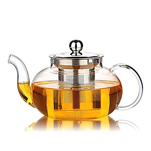 Hiware Good Glass Teapot with Stainless Steel Infuser & Lid, Borosilicate Glass Tea Pots Stovetop Safe, Blooming & Loose Leaf Teapots, 27 Ounce / 800 ml