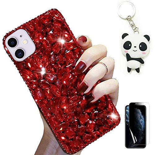 Artfeel Hülle für Samsung Galaxy A21S,Bling Glitzer Durchsichtig Diamant Handyhülle Mädchen Frauen Glänzend Kristall Strass Case mit Süße Panda Schlüsselanhänger und Displayschutzfolie,Rot