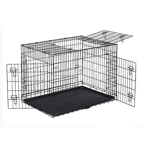 Folding Hund Katze Metallkiste, Single Door & Double Door Hunderahmen, Welpe Trägerkäfig, Robust Sicher, Mit Präzisions-Lock System,Schwarz