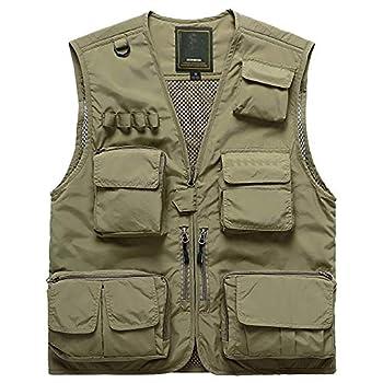 Men s Quick-Dry Fishing Vest Photographer Multi-Pocket Mesh Waistcoat  Khaki US size XXXL Tag size 5XL