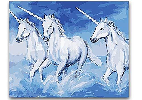 ttymei Pintar por números DIY Colorear Pintar por números Tres Unicornios Corriendo Pinturas por números con Kits 40x50cm con Marco