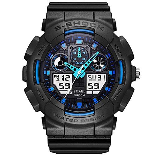 SMAELBand Digitale Militäruhr Light S Shock Herrenuhr wasserdichte 30m LED Uhr Blaue Sportuhren für Herren,Blue