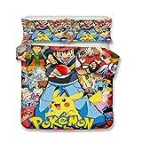 EA-SDN Pokemon - Juego de cama reversible de microfibra, multicolor, funda nórdica estampada en 3D, diseño de Pikachu (Pikachu #17,140_x_200_cm)