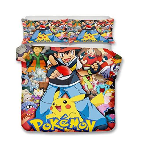 EA-SDN Pokemon Parure de lit réversible Pikachu, Microfibre, Multicolore Housse de Couette imprimée en 3D, Housse de Couette à Motif Pikachu (Pikachu #17,200_x_200_cm)