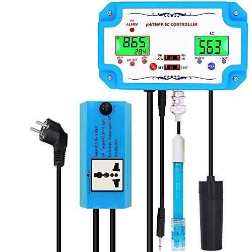 YWJT Medidor de pH 3 en 1, Controlador de Detector de pH/EC/Temp, electrodo de relé, sonda Tipo BNC, probador de Calidad del Agua, Herramienta de monitoreo-EU_Plug