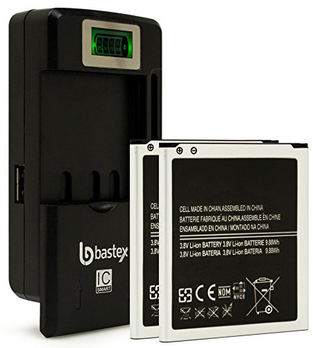 Two (2pk) Bastex Replacement Battery for Samsung Galaxy S4 I9500 3.8V 2600 mAh Plus One (1) Bastex External Dock LCD Battery Charger