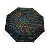 Umbrella Folding Up Multicolored Chemistry Molecular Windproof Rain Umbrella Women Rain & Wind Resistant Compact and Lightweight for Business and Travels