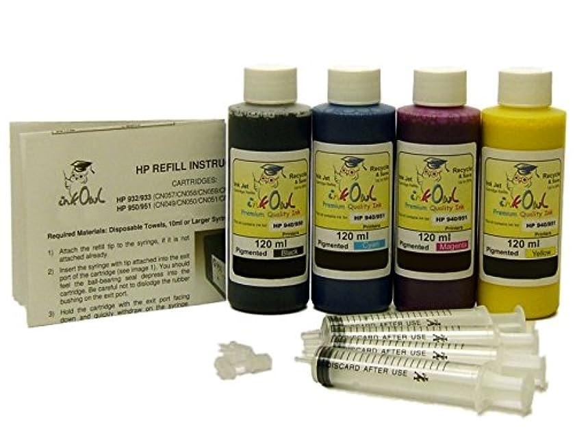InkOwl Pigment Refill Kit for HP 932, 933, 950, 951 cartridges (4x120mL)
