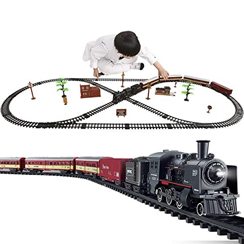 Electric Classical Train Sets with Steam Locomotive Engine, Cargo Car and Tracks, Battery Operated Play Set Toy w  Smoke, Light and Sounds, Perfect for Boys & Girls 3 Years and up