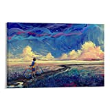 Anime Poster Boy Pushing Bicycle Looking at The Distant Scenery on The Small Road Poster Decorative...