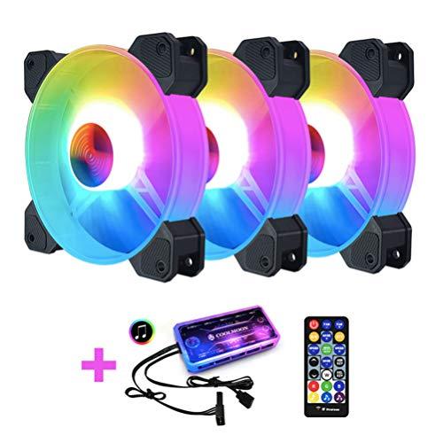 Wakauto 3PCS Ventiladores De Caja PC,Ventilador RGB PC 120mm de Silenciosos con luz y Mando a Distancia,Ventilador RGB 120mm 6 Pines 12V,Ventilador RGB 120mm PWM Fans for PC Case