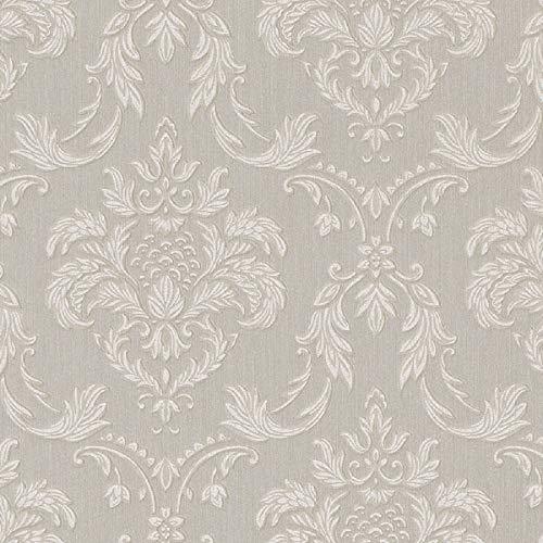 Casa Padrino Barock Textiltapete Grau/Weiß/Beige 10,05 x 0,53 m - Wohnzimmer Tapete im Barockstil - Hochwertige Qualität