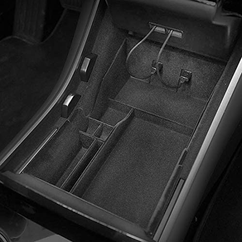 BMZX Car Flocked Center Console Organizer Tray for Tesla Model 3 2017 2018 2019 2020 Interior Accessories Storage Armrest Box Phone Mount Pocket Sunglass Holder Container (OEM Black)