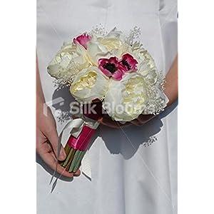 Stunning Ivory Peony, Pink Anemone & Dried Gypsophila Bouquet