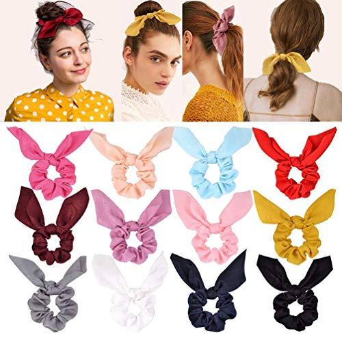 MissGao 12 diademas de gasa con lazo para coletas de caballo, cinta de satén monocolor, con orejas de conejo, 12 colores, para mujeres y niñas