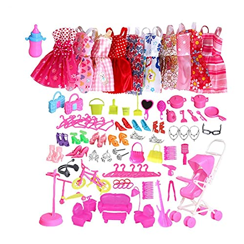 Kacniohen Accesorios de Ropa, 1set/ 10Pcs Ropa de Moda Vestido de Noche fijado para muñecas con Bonus Zapatos Collar de la joyería Pendientes Conjuntos para Las Muchachas del Regalo de cumpleaños de