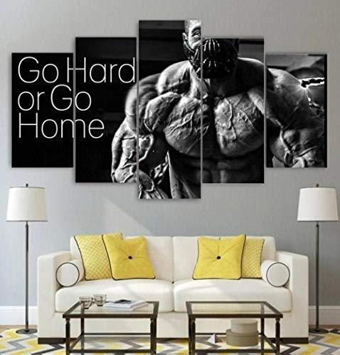 Kunstdruck Bilder 5 Teile Wandbilder Gehen Sie Hart Fitness Workout Gym 5 Teiliges Wandbild Moderne Dekoration Leinwand...