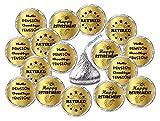 Gold Foil Retirement Kisses Stickers, (Set of 216) Chocolate Drops Labels Stickers for Happy Retirement Party, Hershey's Kisses Party Favors Decor