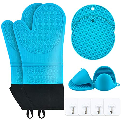 Silicone Oven Mitts and Pot Holders Extra Long 14.1 Inches Heat Resistant Cooking Gloves with Soft Cotton Lining Waterproof Washable Non-Slip Oven Gloves for BBQ Kitchen Cooking Baking (Blue)