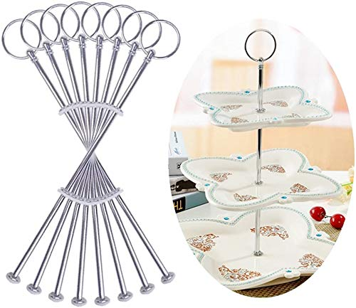 Auped 8 Sets silberfarbe Metallstange Mittellochausstech Tier Stand 2 bis 3 Etagere Etage Torten Hochzeitstorte Tortenstaender.