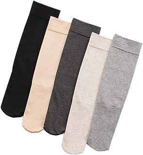 LYDIAMOON Calentadores de Pierna sobre La Rodilla para Mujer Calcetines Elásticos de Algodón de Terciopelo Grueso Forrado Medias,Mixedcolor