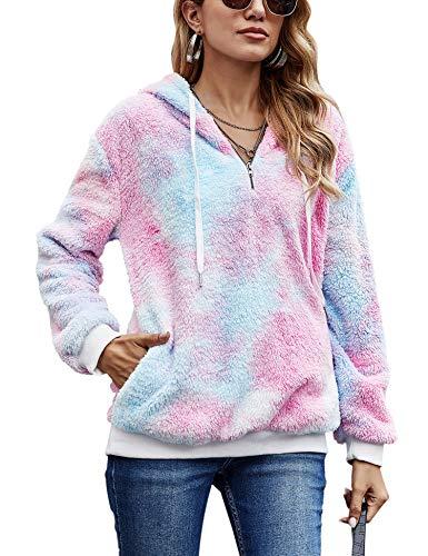 iWoo Teddy Jacken Für Damen Winter Warmer Teddy-Fleece Hoodie Pullover 1/4 Zip Flauschig Bequem Oversize Pullover(Blau Rosa,XL)