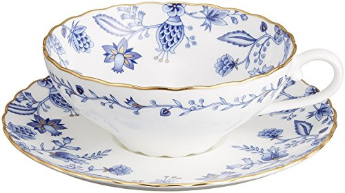 YBK Tech Euro Style Cup& Saucer Set Art Bone China Ceramic Tea Coffee Cup for Home Kitchen Wedding (Blue Ivy)