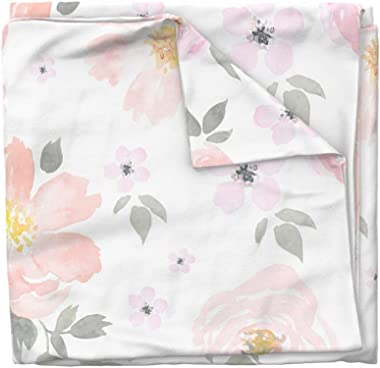 Roostery Duvet Cover, Floral Boho Chic Watercolor Botanical Nursery Girly Print, 100% Cotton Sateen Duvet Cover, Twin