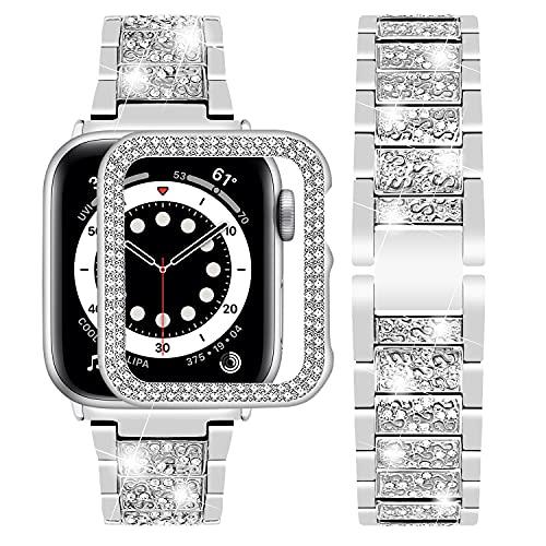 Wutwuk Correa Diamantes Brillo Compatible con Apple Watch Series 7/6/5/4/3/2/1/SE Correa de Acero Inoxidable para Apple Watch 38mm Pulsera de Repuesto para Hombres y Mujeres-Plata