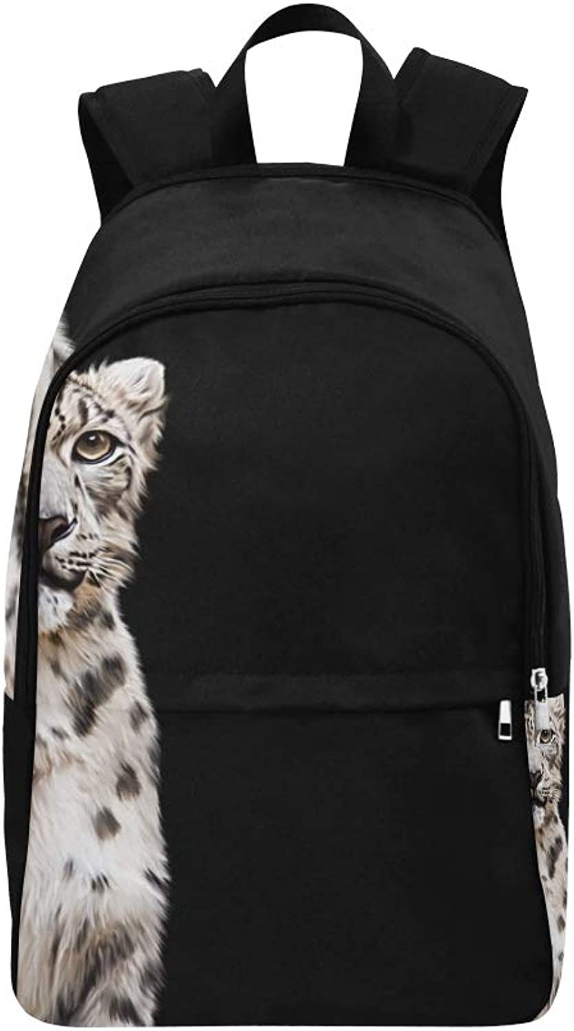 Drawing Snow Leopard Portrait On Black Casual Daypack Travel Bag College School Backpack for Mens and Women