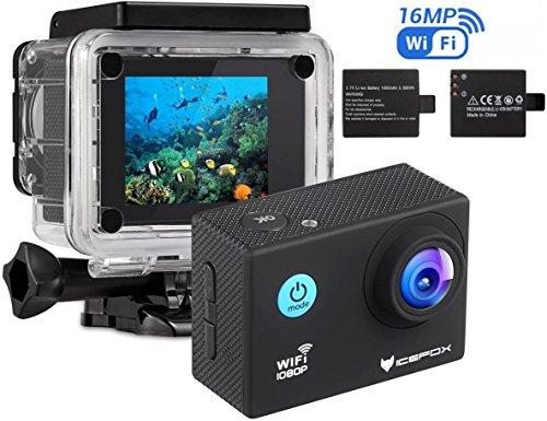 Action Cam, icefox 2K 16MP Unterwasserkamera, WIFI Fernbedienung, 2.0 Display Helmkamera, Wasserdicht Sport Action Kamera mit 2 Akku und kostenloses Zubehör