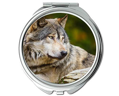 Yanteng Spiegel, Runder Spiegel, Tierspiegel mit Wolfspelz, 1 X 2X Vergrößerung