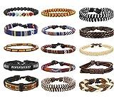 Milacolato Schmuck Leder Armbänder für Herren und Damen Armband Holz Perlen Geflochten Charme Elastisch Flechtelement und Lebensbaum Anhänger